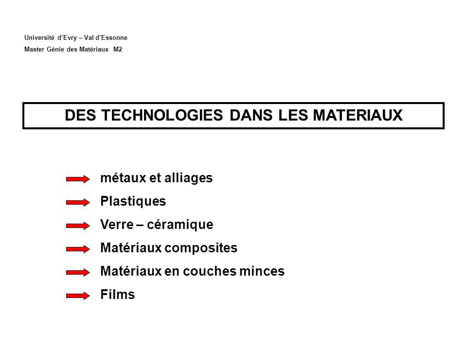 Université dEvry – Val dEssonne Master Génie des Matériaux M2 DES TECHNOLOGIES DANS LES MATERIAUX métaux et alliages Plastiques Verre – céramique Matériaux composites Matériaux en couches minces Films