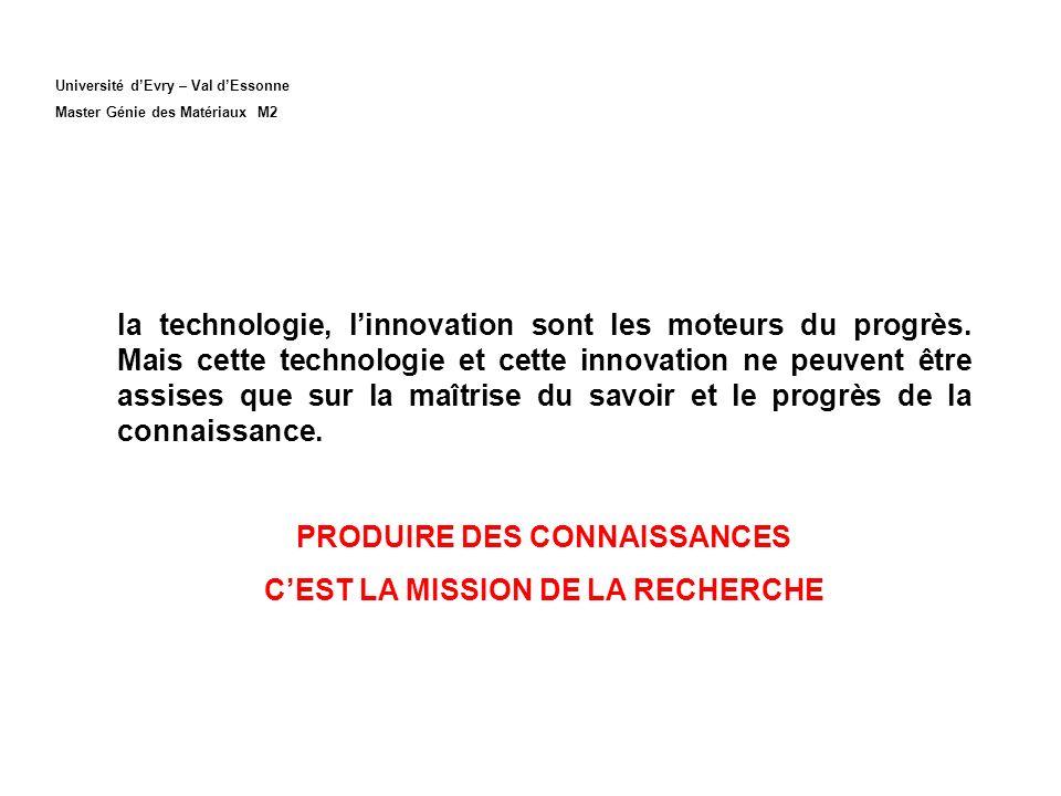Université dEvry – Val dEssonne Master Génie des Matériaux M2 la technologie, linnovation sont les moteurs du progrès. Mais cette technologie et cette