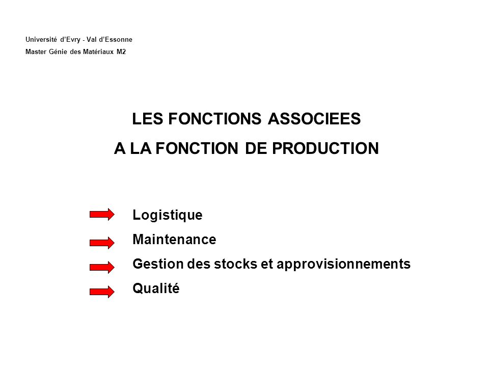 Université dEvry - Val dEssonne Master Génie des Matériaux M2 LES FONCTIONS ASSOCIEES A LA FONCTION DE PRODUCTION Logistique Maintenance Gestion des stocks et approvisionnements Qualité