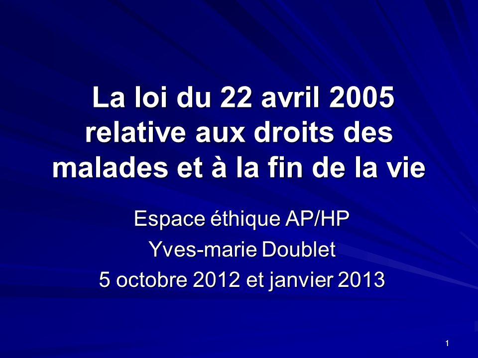 1 La loi du 22 avril 2005 relative aux droits des malades et à la fin de la vie La loi du 22 avril 2005 relative aux droits des malades et à la fin de