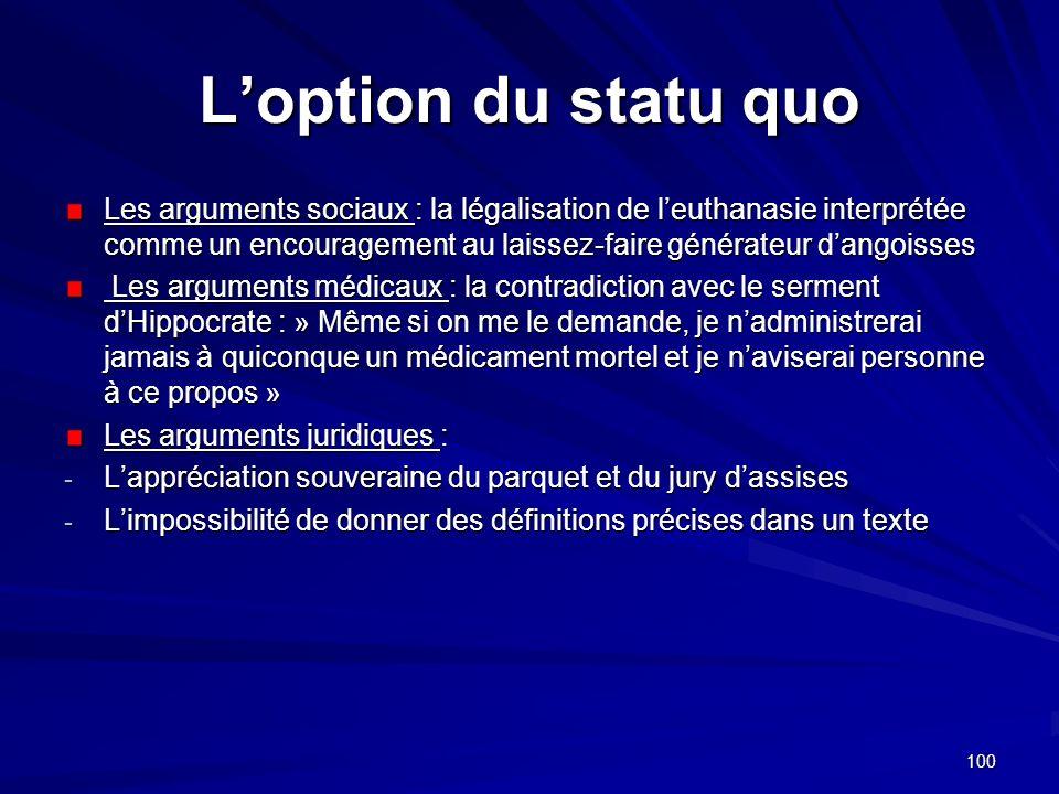 100 Loption du statu quo Les arguments sociaux : la légalisation de leuthanasie interprétée comme un encouragement au laissez-faire générateur dangois