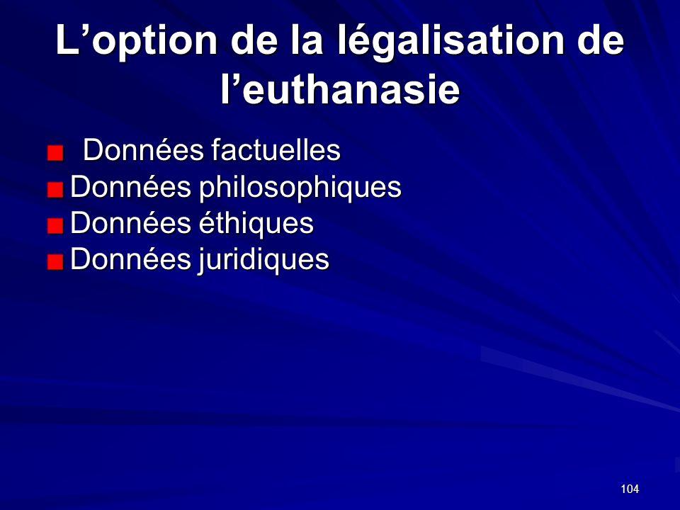 104 Loption de la légalisation de leuthanasie Données factuelles Données philosophiques Données éthiques Données juridiques