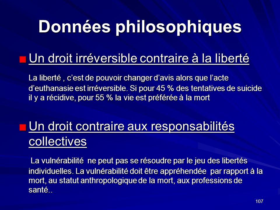 107 Données philosophiques Un droit irréversible contraire à la liberté La liberté, cest de pouvoir changer davis alors que lacte deuthanasie est irré