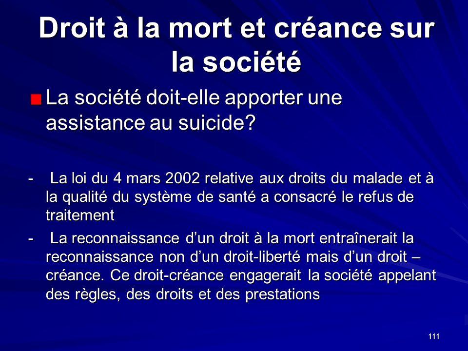 111 Droit à la mort et créance sur la société La société doit-elle apporter une assistance au suicide? - La loi du 4 mars 2002 relative aux droits du