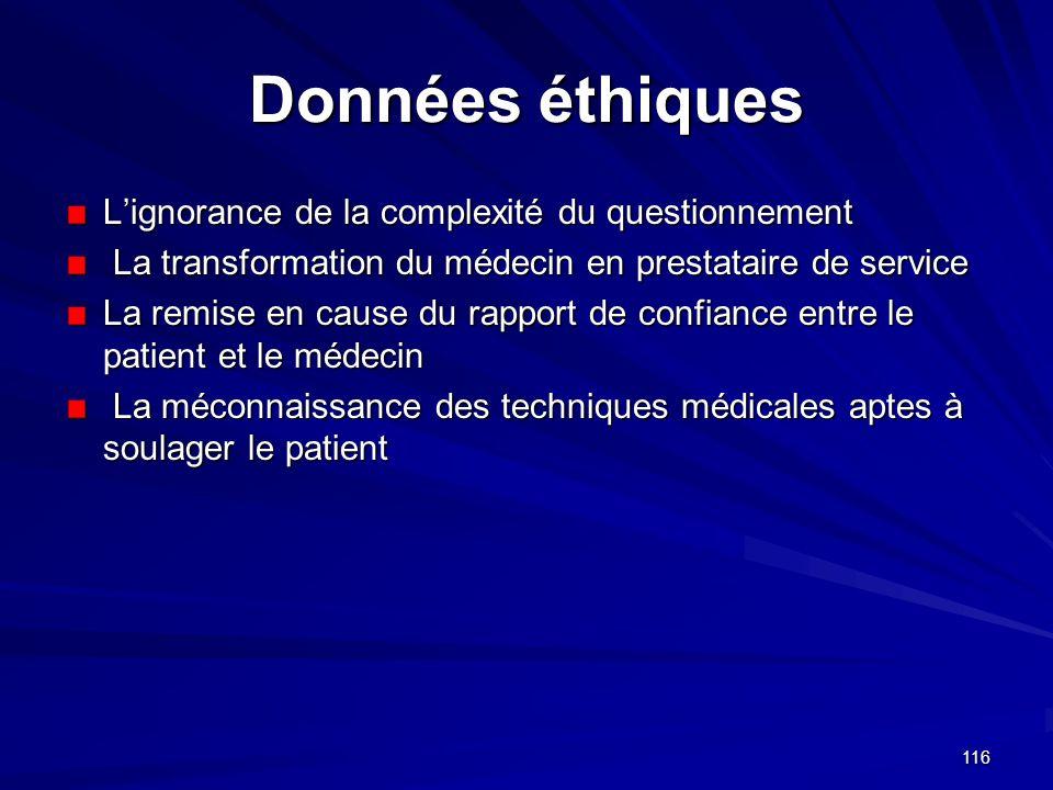 116 Données éthiques Lignorance de la complexité du questionnement La transformation du médecin en prestataire de service La transformation du médecin