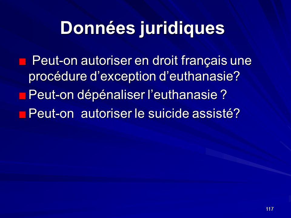 117 Données juridiques Données juridiques Peut-on autoriser en droit français une procédure dexception deuthanasie? Peut-on autoriser en droit françai