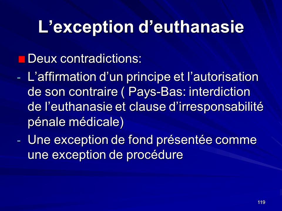 119 Lexception deuthanasie Deux contradictions: - Laffirmation dun principe et lautorisation de son contraire ( Pays-Bas: interdiction de leuthanasie
