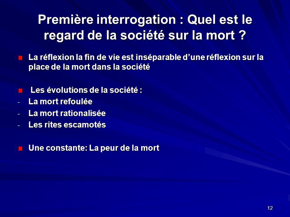 12 Première interrogation : Quel est le regard de la société sur la mort ? La réflexion la fin de vie est inséparable dune réflexion sur la place de l