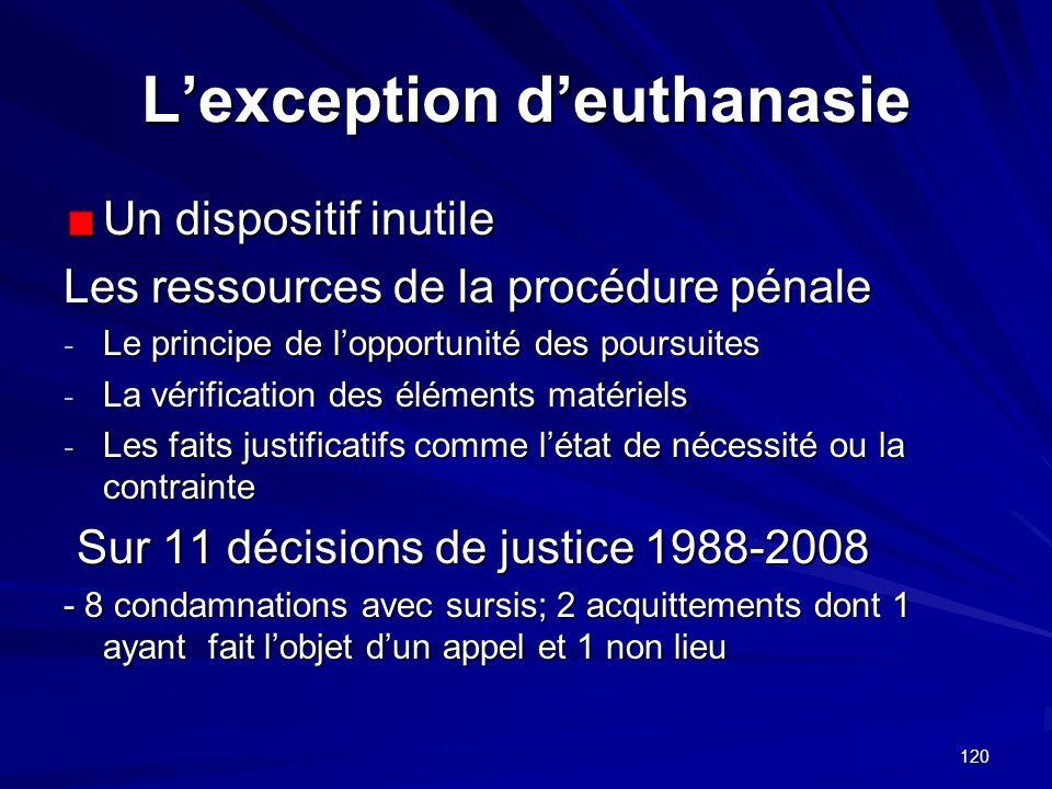 120 Lexception deuthanasie Un dispositif inutile Les ressources de la procédure pénale - Le principe de lopportunité des poursuites - La vérification