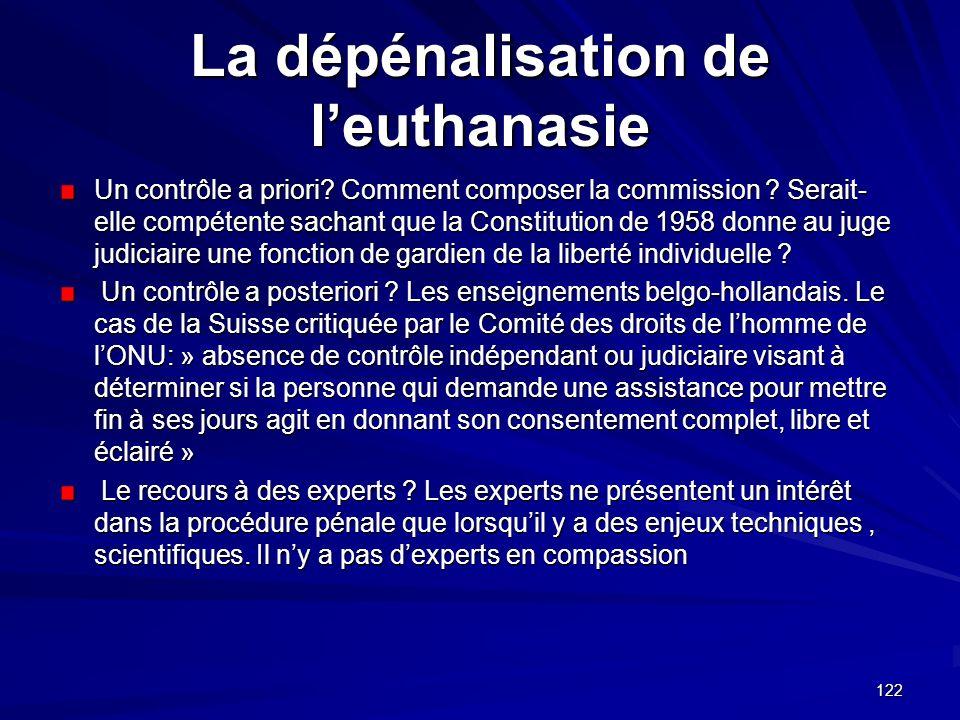 122 La dépénalisation de leuthanasie Un contrôle a priori? Comment composer la commission ? Serait- elle compétente sachant que la Constitution de 195