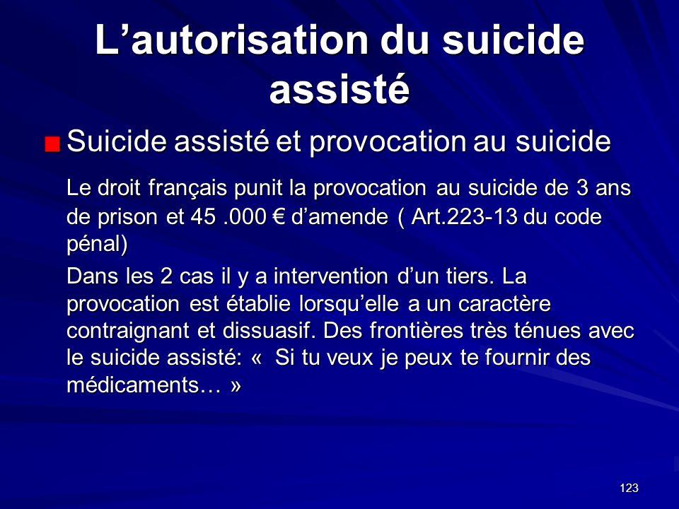 123 Lautorisation du suicide assisté Suicide assisté et provocation au suicide Le droit français punit la provocation au suicide de 3 ans de prison et