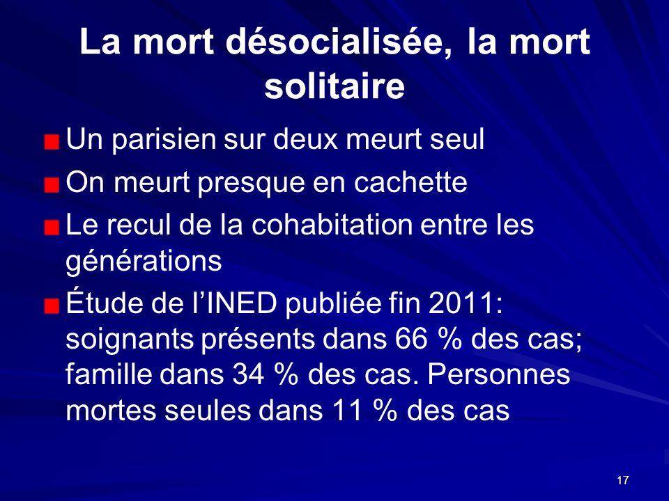 17 La mort désocialisée, la mort solitaire Un parisien sur deux meurt seul On meurt presque en cachette Le recul de la cohabitation entre les générati