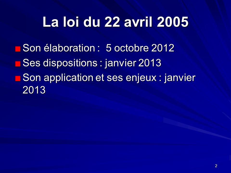2 La loi du 22 avril 2005 Son élaboration : 5 octobre 2012 Ses dispositions : janvier 2013 Son application et ses enjeux : janvier 2013