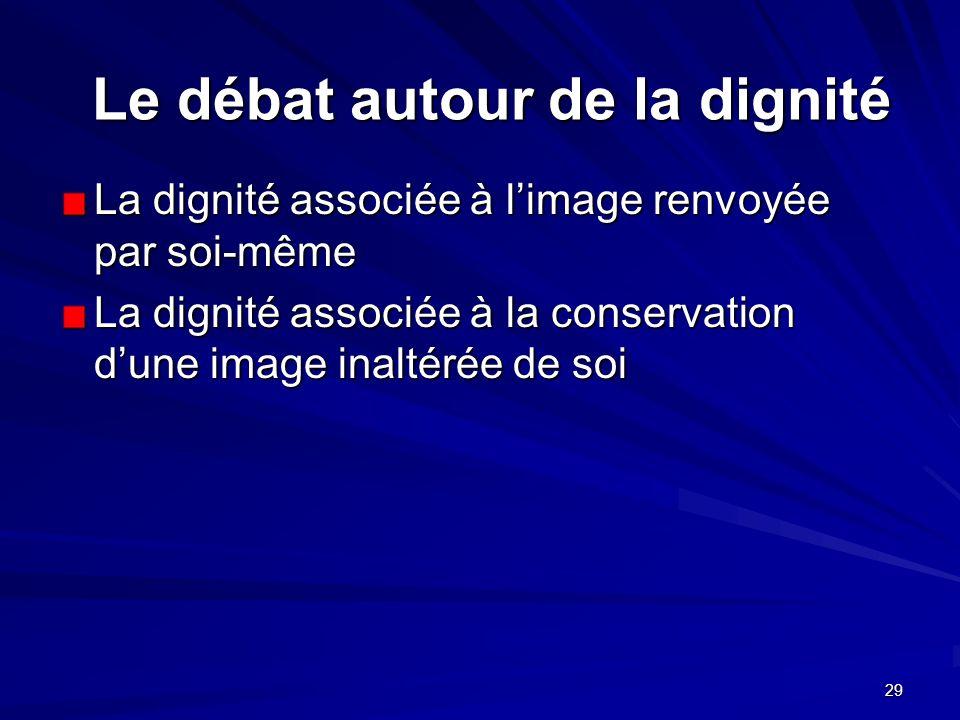 29 Le débat autour de la dignité La dignité associée à limage renvoyée par soi-même La dignité associée à la conservation dune image inaltérée de soi