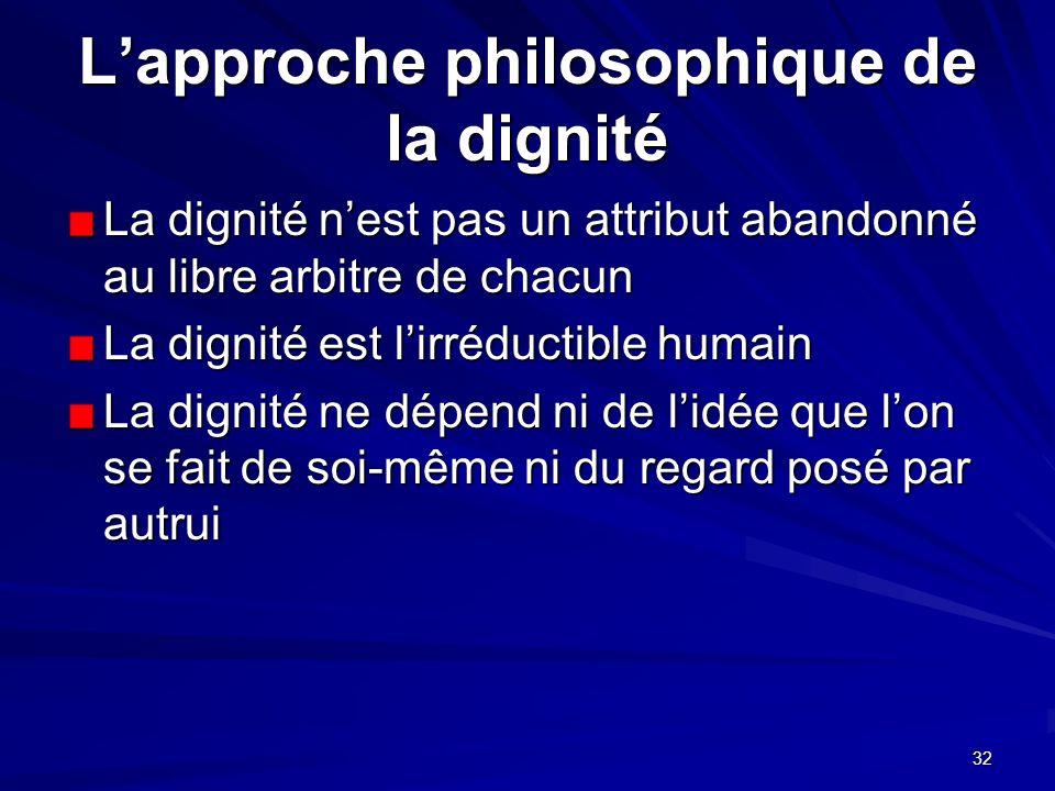 32 Lapproche philosophique de la dignité La dignité nest pas un attribut abandonné au libre arbitre de chacun La dignité est lirréductible humain La d