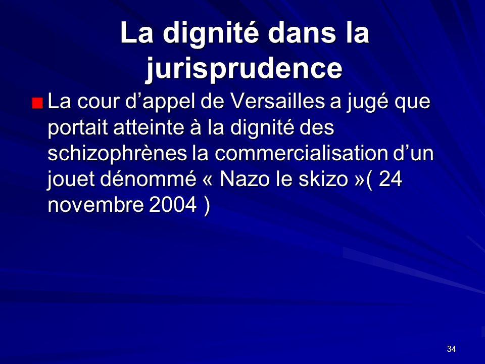 34 La dignité dans la jurisprudence La cour dappel de Versailles a jugé que portait atteinte à la dignité des schizophrènes la commercialisation dun j