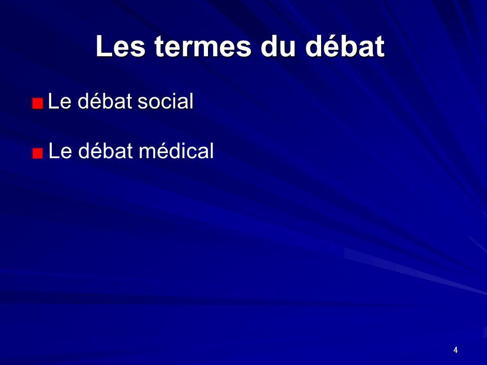 4 Les termes du débat Les termes du débat Le débat social Le débat médical