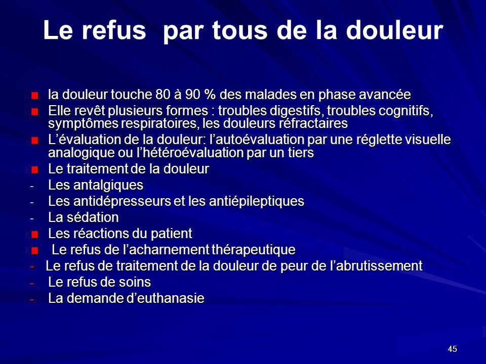 45 Le refus par tous de la douleur la douleur touche 80 à 90 % des malades en phase avancée Elle revêt plusieurs formes : troubles digestifs, troubles