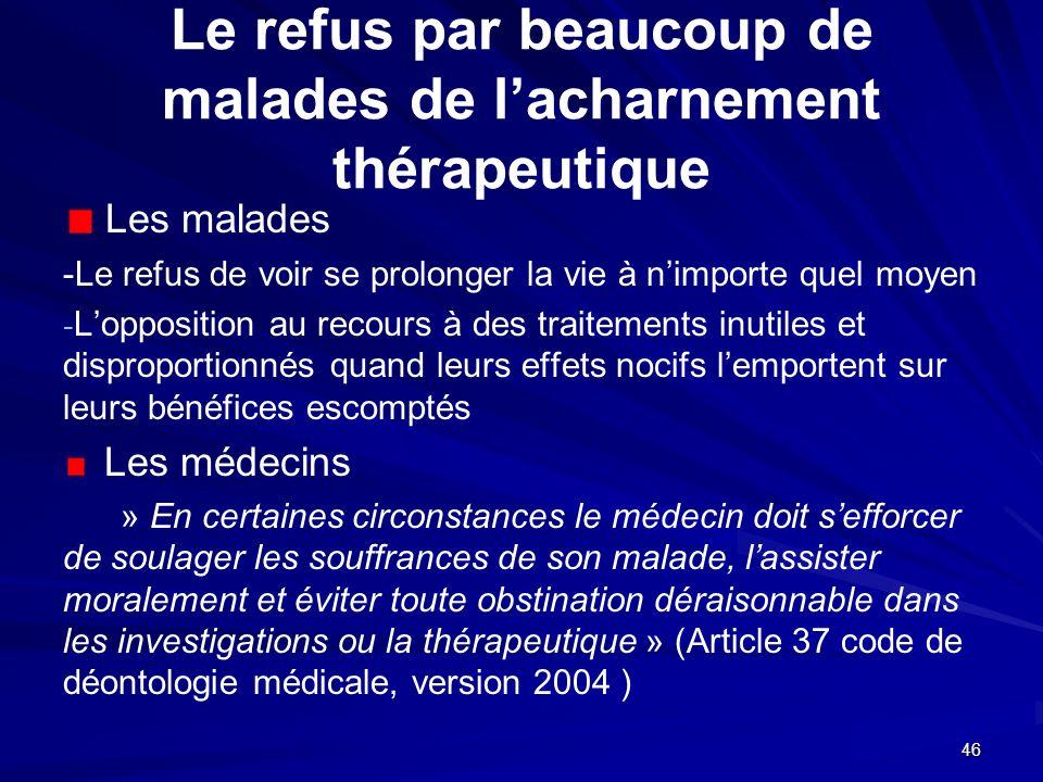 46 Le refus par beaucoup de malades de lacharnement thérapeutique Les malades -Le refus de voir se prolonger la vie à nimporte quel moyen - - Lopposit