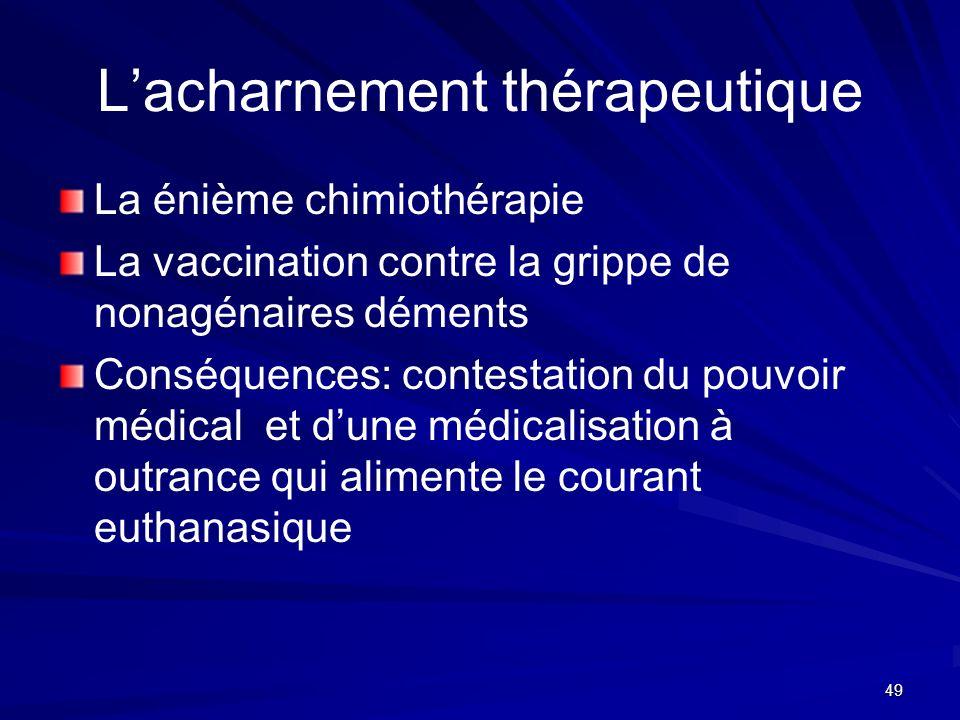 49 Lacharnement thérapeutique La énième chimiothérapie La vaccination contre la grippe de nonagénaires déments Conséquences: contestation du pouvoir m