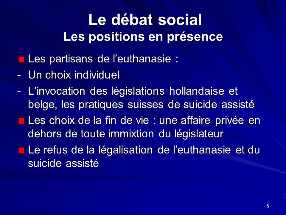 5 Le débat social Les positions en présence Le débat social Les positions en présence Les partisans de leuthanasie : - Un choix individuel -Linvocatio
