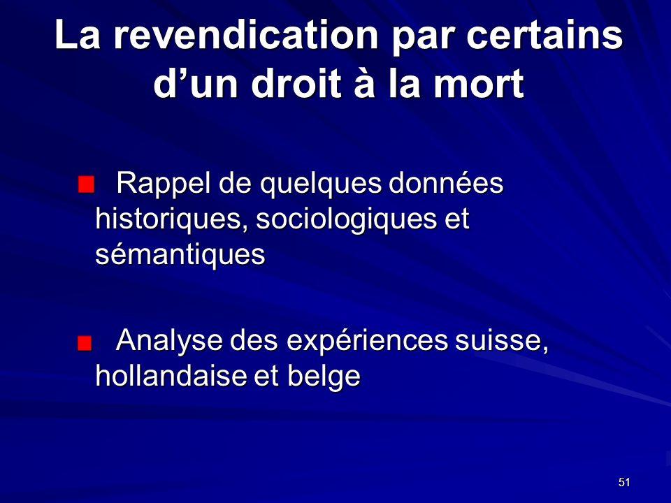 51 La revendication par certains dun droit à la mort Rappel de quelques données historiques, sociologiques et sémantiques Rappel de quelques données h