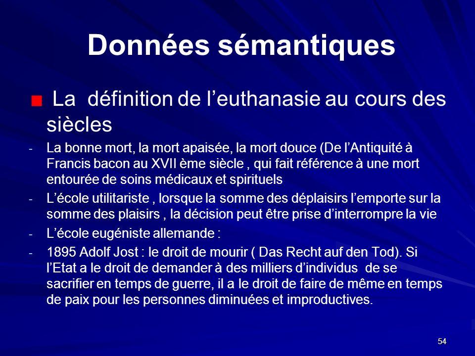 54 Données sémantiques La définition de leuthanasie au cours des siècles - - La bonne mort, la mort apaisée, la mort douce (De lAntiquité à Francis ba