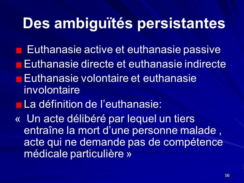 56 Des ambiguïtés persistantes Euthanasie active et euthanasie passive Euthanasie directe et euthanasie indirecte Euthanasie volontaire et euthanasie