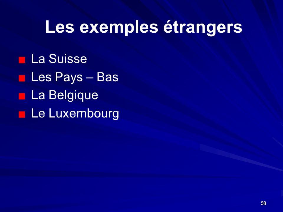 58 Les exemples étrangers La Suisse Les Pays – Bas La Belgique Le Luxembourg