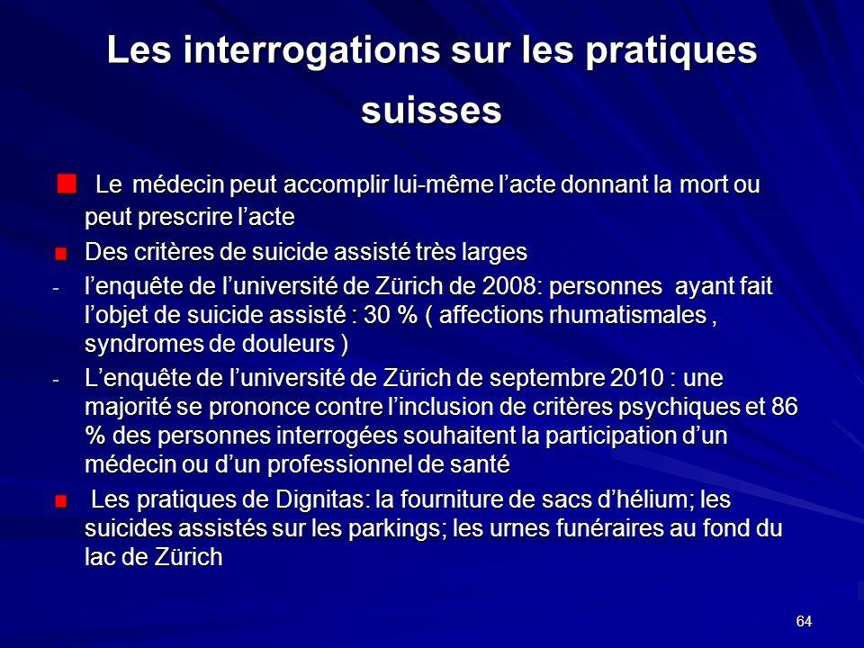 64 Les interrogations sur les pratiques suisses Le médecin peut accomplir lui-même lacte donnant la mort ou peut prescrire lacte Le médecin peut accom