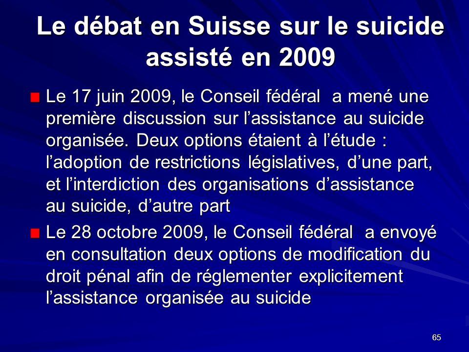 65 Le débat en Suisse sur le suicide assisté en 2009 Le 17 juin 2009, le Conseil fédéral a mené une première discussion sur lassistance au suicide org