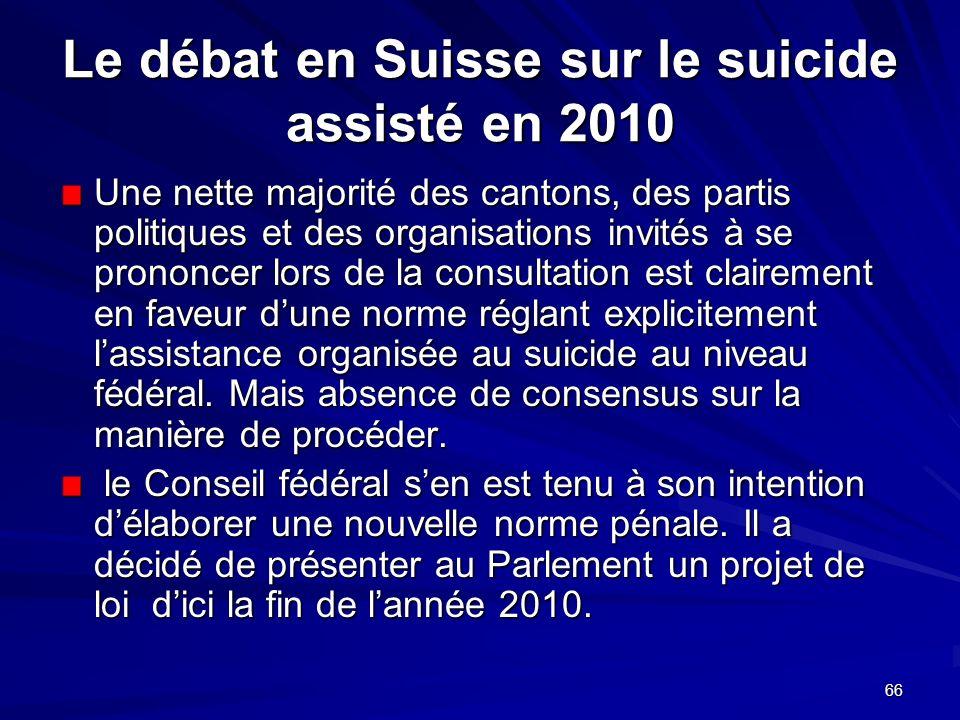 66 Le débat en Suisse sur le suicide assisté en 2010 Une nette majorité des cantons, des partis politiques et des organisations invités à se prononcer