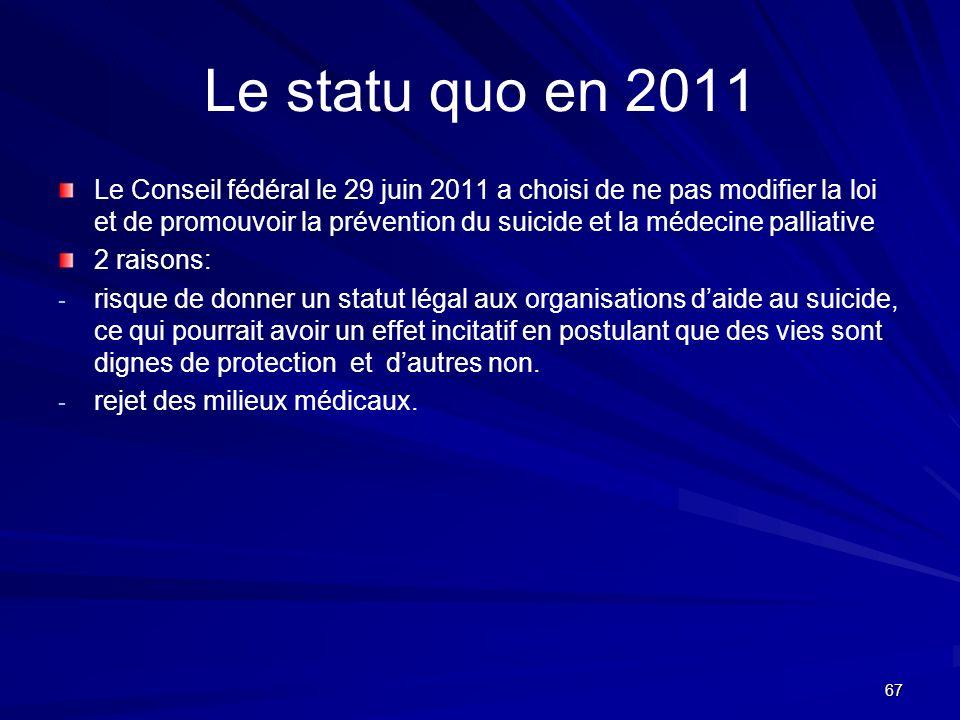 67 Le statu quo en 2011 Le Conseil fédéral le 29 juin 2011 a choisi de ne pas modifier la loi et de promouvoir la prévention du suicide et la médecine