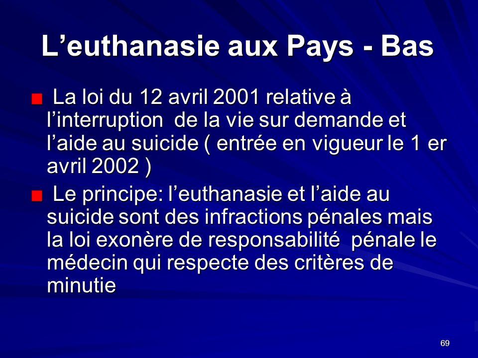 69 Leuthanasie aux Pays - Bas La loi du 12 avril 2001 relative à linterruption de la vie sur demande et laide au suicide ( entrée en vigueur le 1 er a