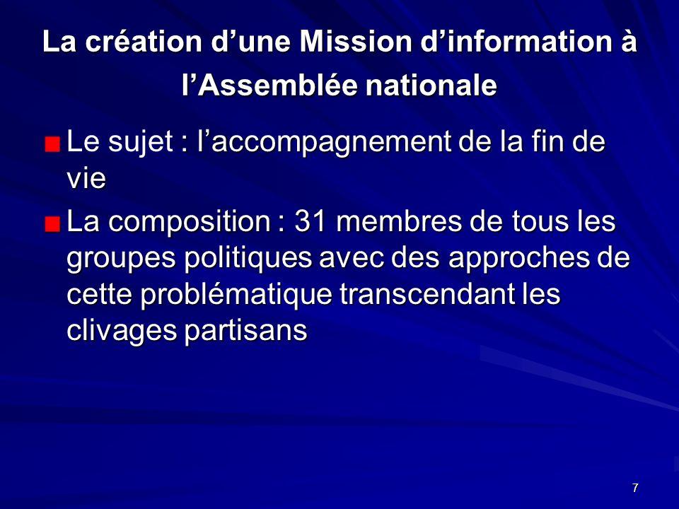 7 La création dune Mission dinformation à lAssemblée nationale : laccompagnement de la fin de vie Le sujet : laccompagnement de la fin de vie La compo