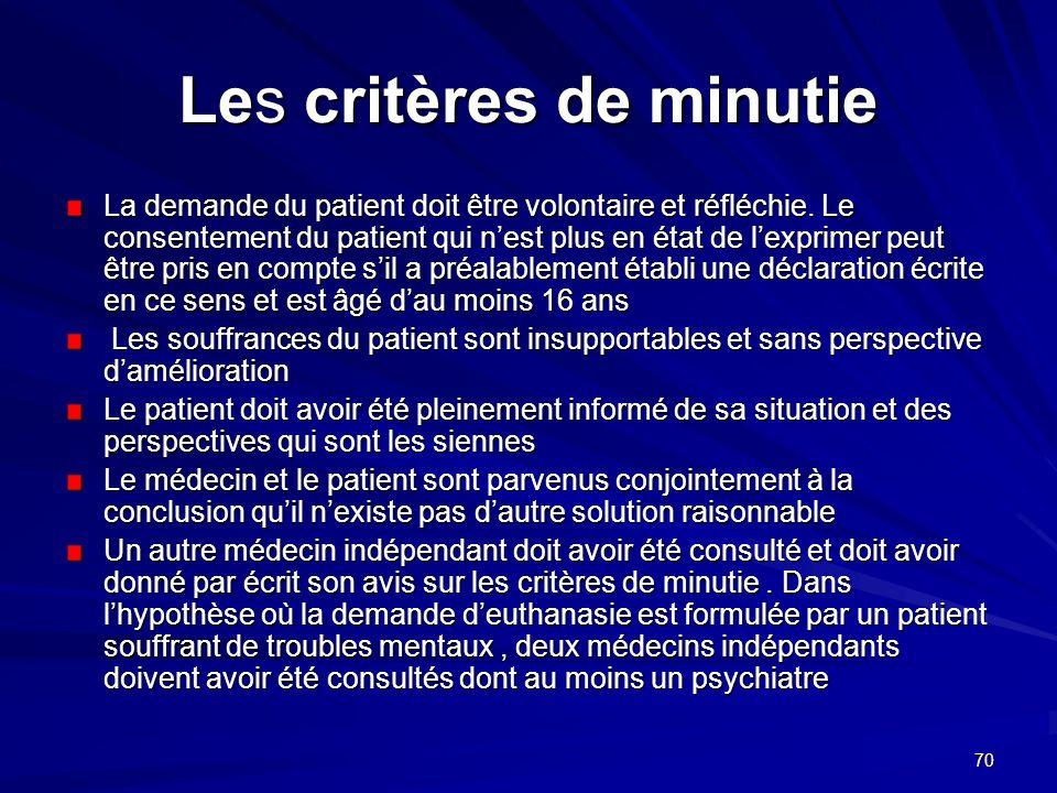 70 Les critères de minutie La demande du patient doit être volontaire et réfléchie. Le consentement du patient qui nest plus en état de lexprimer peut