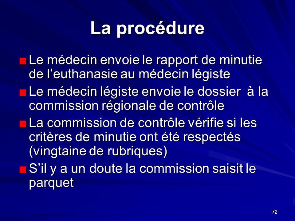 72 La procédure Le médecin envoie le rapport de minutie de leuthanasie au médecin légiste Le médecin légiste envoie le dossier à la commission régiona