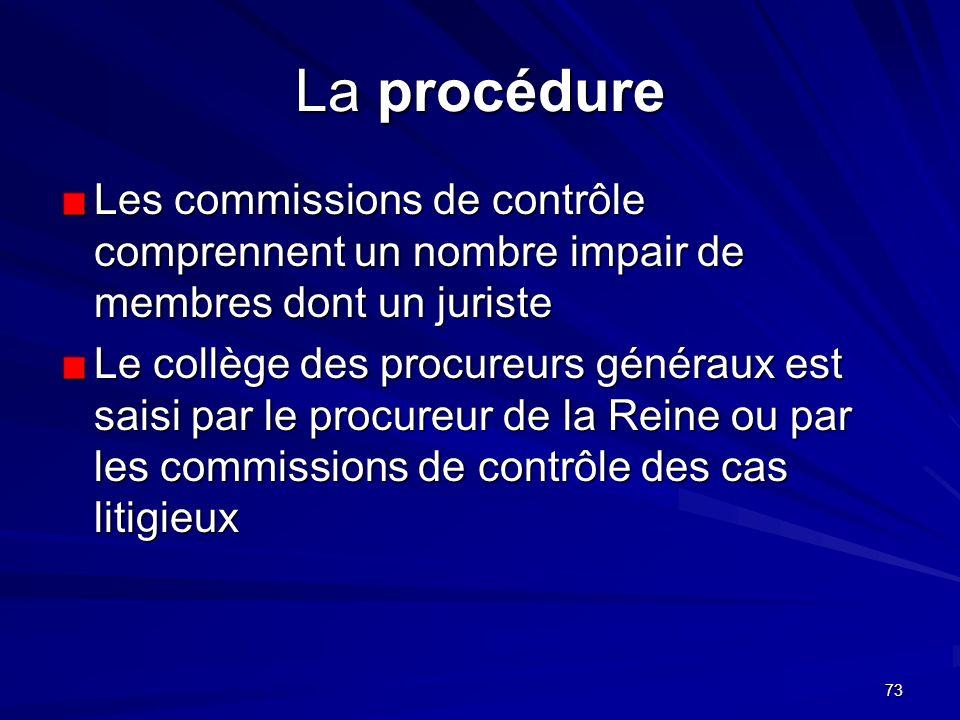73 La procédure Les commissions de contrôle comprennent un nombre impair de membres dont un juriste Le collège des procureurs généraux est saisi par l