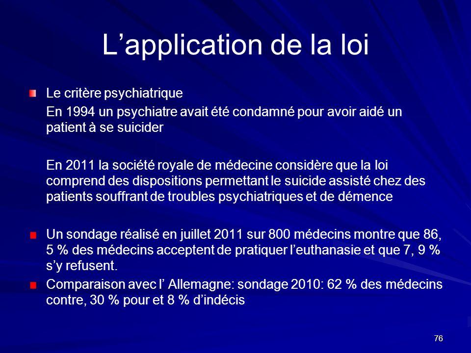 76 Lapplication de la loi Le critère psychiatrique En 1994 un psychiatre avait été condamné pour avoir aidé un patient à se suicider En 2011 la sociét