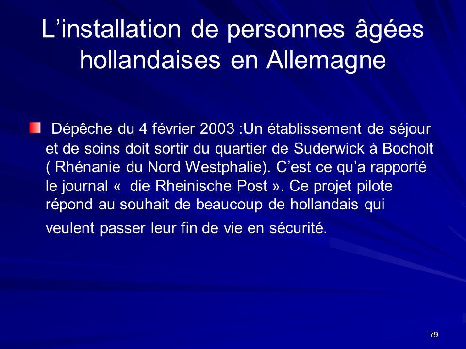 79 Linstallation de personnes âgées hollandaises en Allemagne Dépêche du 4 février 2003 :Un établissement de séjour et de soins doit sortir du quartie