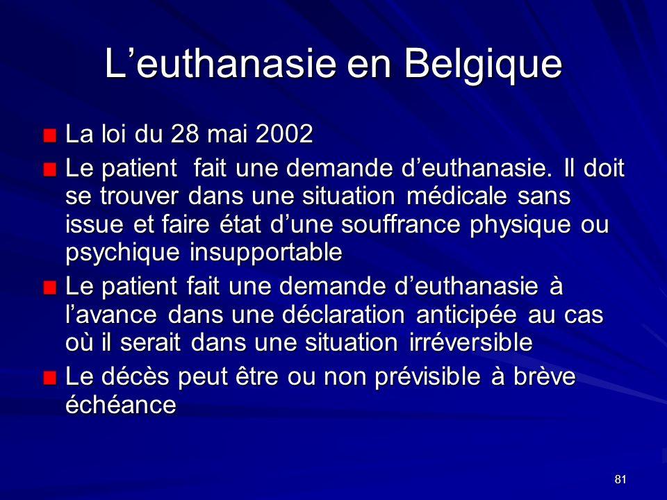 81 Leuthanasie en Belgique La loi du 28 mai 2002 Le patient fait une demande deuthanasie. Il doit se trouver dans une situation médicale sans issue et