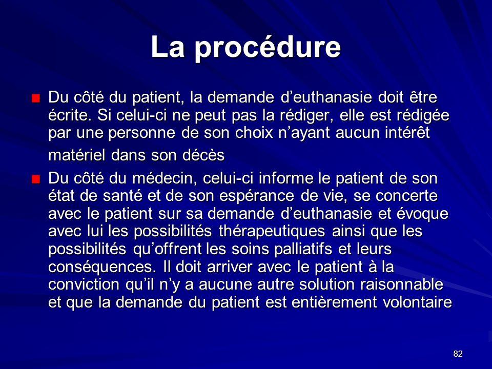 82 La procédure Du côté du patient, la demande deuthanasie doit être écrite. Si celui-ci ne peut pas la rédiger, elle est rédigée par une personne de