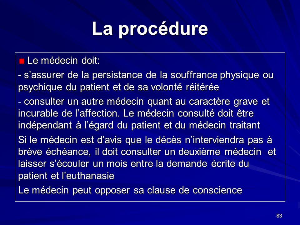 83 La procédure Le médecin doit: Le médecin doit: - sassurer de la persistance de la souffrance physique ou psychique du patient et de sa volonté réit