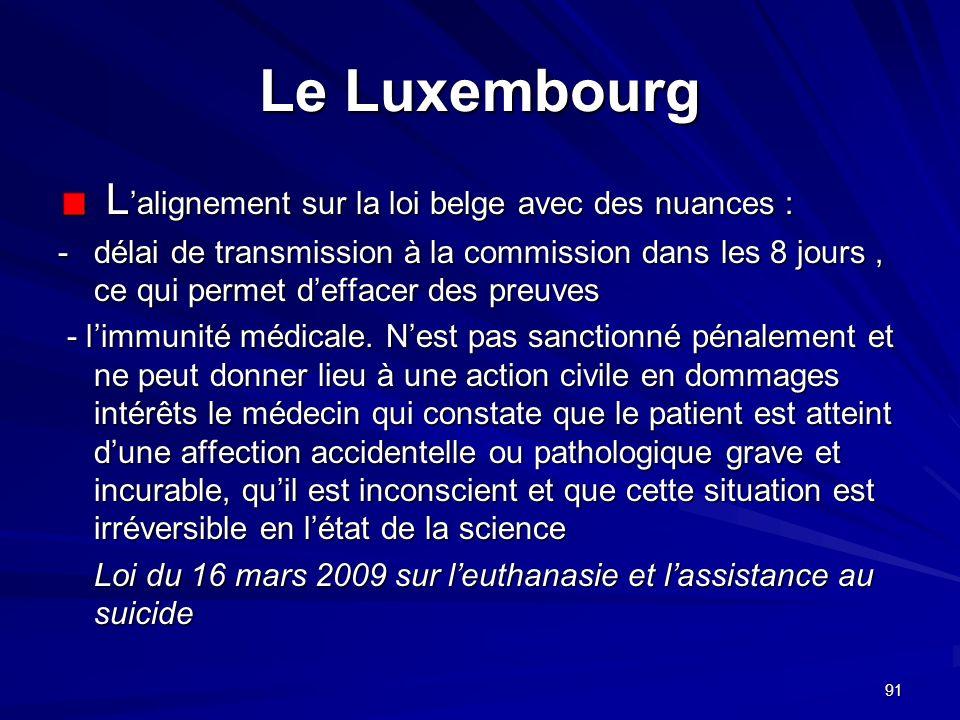 91 Le Luxembourg L alignement sur la loi belge avec des nuances : L alignement sur la loi belge avec des nuances : - délai de transmission à la commis
