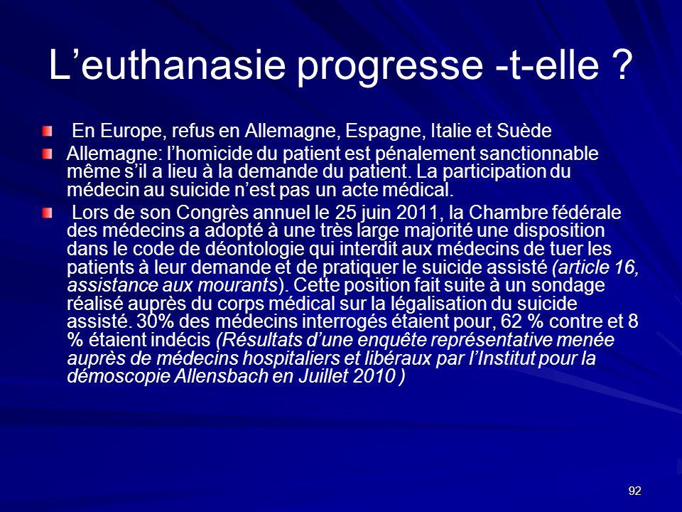 92 Leuthanasie progresse -t-elle ? En Europe, refus en Allemagne, Espagne, Italie et Suède Allemagne: lhomicide du patient est pénalement sanctionnabl