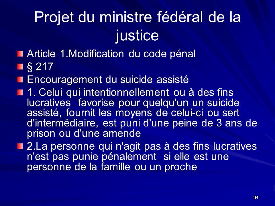 94 Projet du ministre fédéral de la justice Article 1.Modification du code pénal § 217 Encouragement du suicide assisté 1. Celui qui intentionnellemen
