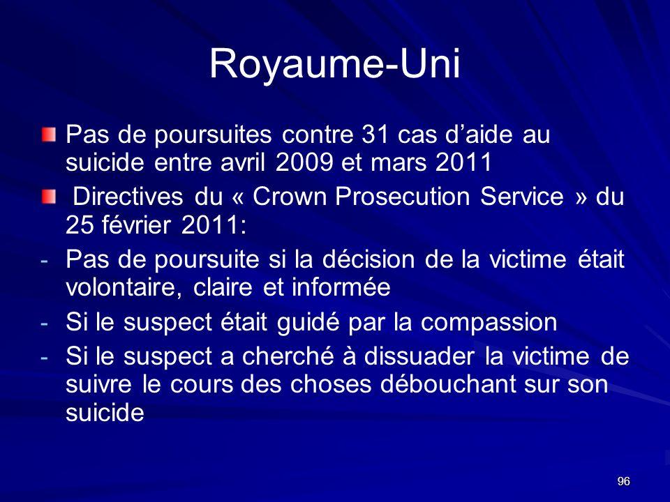 96 Royaume-Uni Pas de poursuites contre 31 cas daide au suicide entre avril 2009 et mars 2011 Directives du « Crown Prosecution Service » du 25 févrie