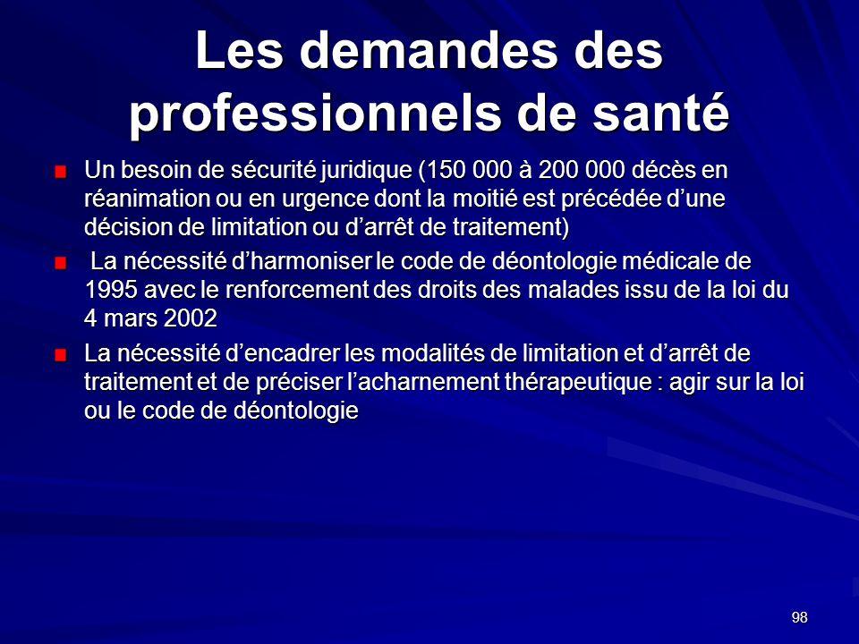 98 Les demandes des professionnels de santé Un besoin de sécurité juridique (150 000 à 200 000 décès en réanimation ou en urgence dont la moitié est p