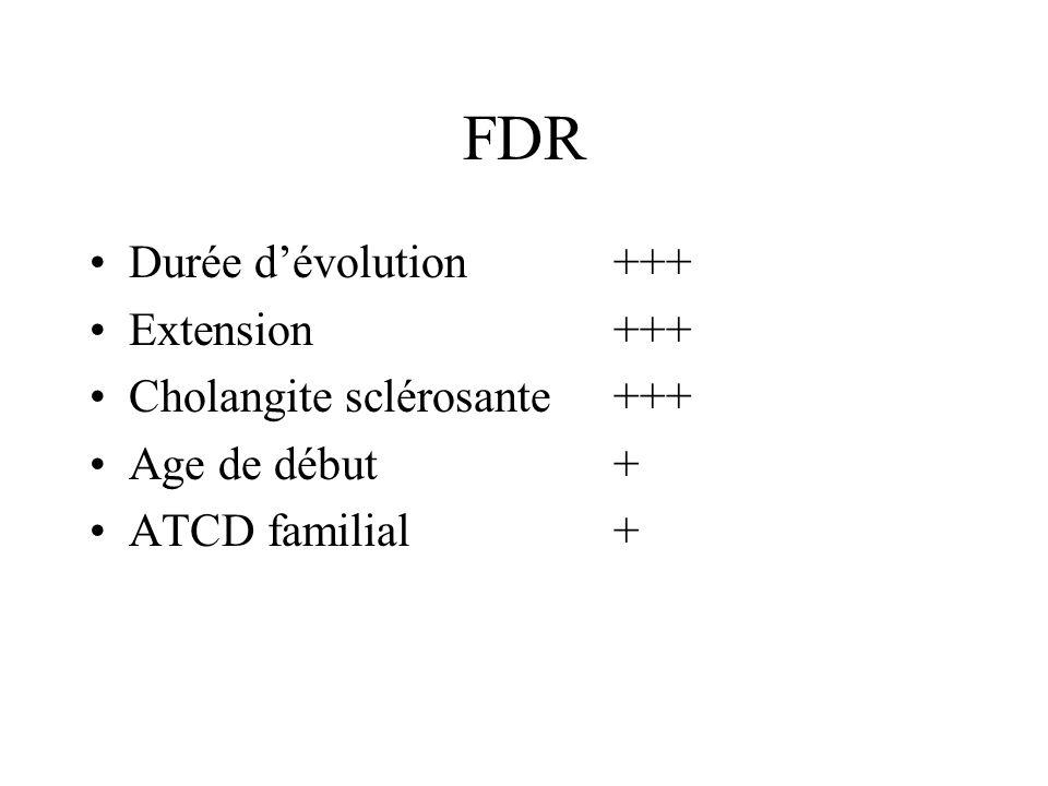 FDR Durée dévolution+++ Extension+++ Cholangite sclérosante+++ Age de début+ ATCD familial+