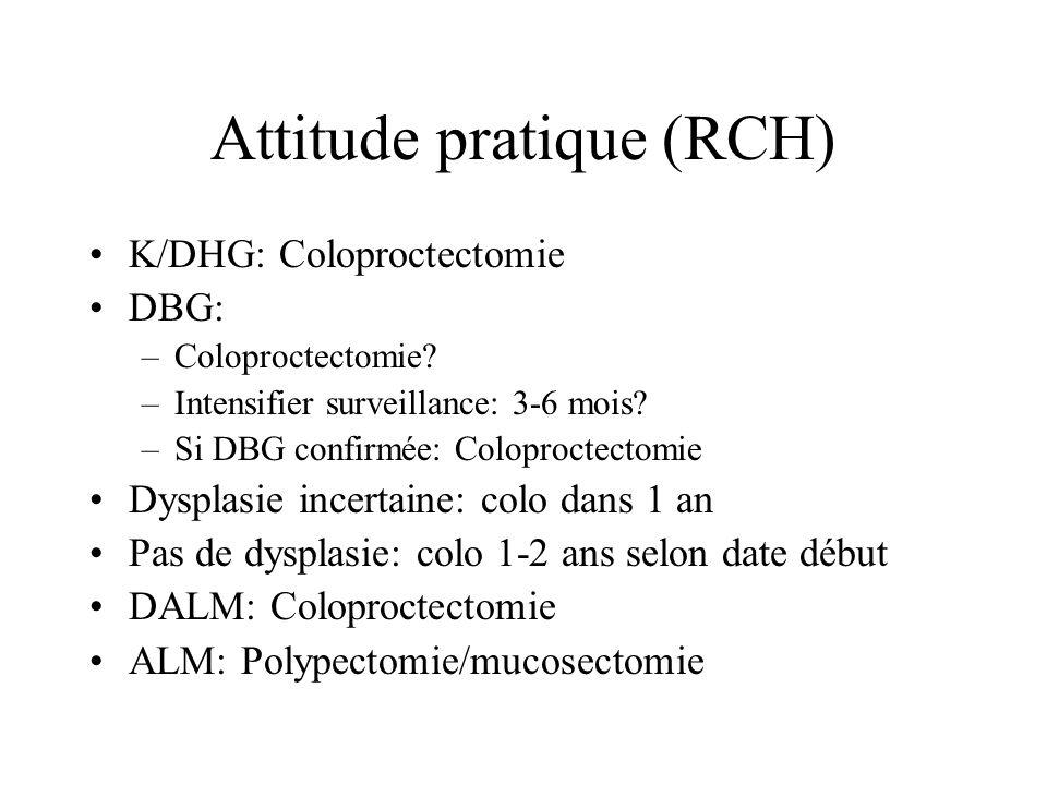 Attitude pratique (RCH) K/DHG: Coloproctectomie DBG: –Coloproctectomie? –Intensifier surveillance: 3-6 mois? –Si DBG confirmée: Coloproctectomie Dyspl